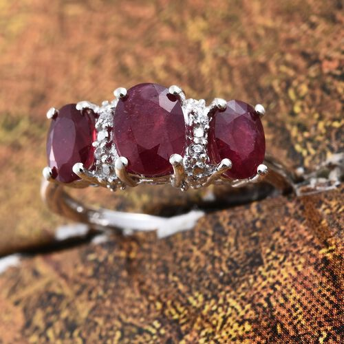 African Ruby (Ovl 1.10 Ct), Natural Cambodian Zircon Ring in Platinum Overlay Sterling Silver 2.750 Ct.