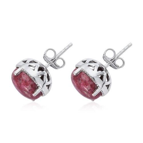 Norwegian Thulite (Ovl) Stud Earrings in Platinum Overlay Sterling Silver 6.000 Ct.