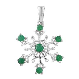 Kagem Zambian Emerald (Rnd) Snowflake Pendant in Platinum Overlay Sterling Silver 1.000 Ct.