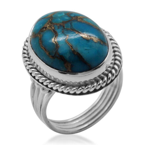 Royal Bali Collection Mojave Blue Turquoise (Ovl) Solitaire Ring in Sterling Silver 9.590 Ct.
