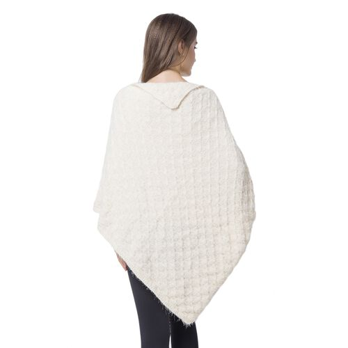 Designer Inspired Knitted White Flap Collar Cape (One Size)