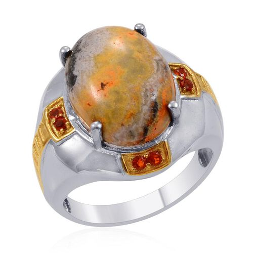 Designer Collection Bumble Bee Jasper (Ovl 15.00 Ct), Cherry Fire Opal Ring in 14K YG and Platinum Overlay Sterling Silver 15.240 Ct.