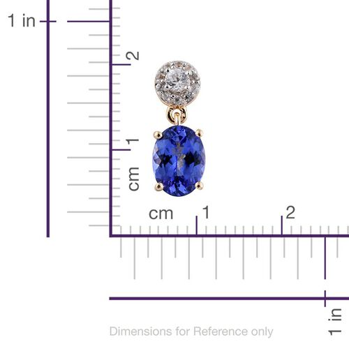 9K Y Gold Tanzanite (Ovl), Natural Cambodian Zircon Earrings (with Push Back) 2.400 Ct.