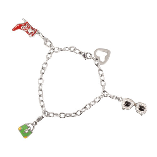 White Austrian Crystal Multi Charm Bracelet in Stainless Steel (Size 8.5)