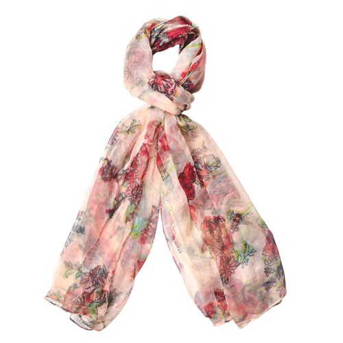 40% Mulberry Silk Red, Green and Multi Colour Floral Pattern Scarf (Size 170X105 Cm)