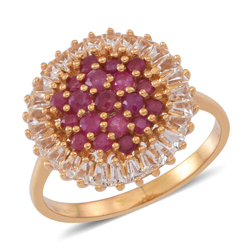 Burmese Ruby (Rnd), White Topaz Cluster Ring in 14K Gold Overlay Sterling Silver 2.750 Ct.