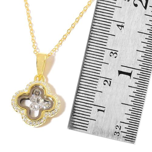 Designer Inspired-ELANZA AAA Simulated White Diamond Pendant with Chain in 14K Gold Overlay Sterling Silver, Silver wt 3.80 Gms.