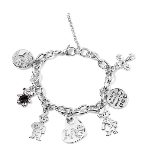 Stainless Steel Tree, Bear, Boy, Heart, Girl, Cross and Round Charm Bracelet (Size 7.5)