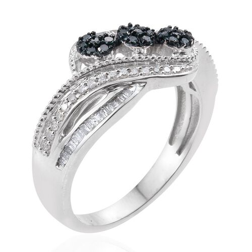 Blue Diamond, White Diamond Ring in Platinum Overlay Sterling Silver 0.430 Ct.