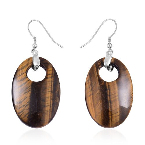 One Time Deal-Tigers Eye Oval Hook Earrings in Rhodium Plated Sterling Silver 41.500 Ct.