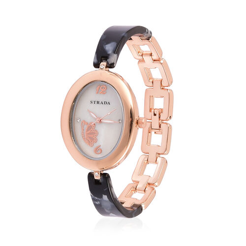 STRADA Japanese Movement White Austrian Crystal Studded MOP Dial Watch in Rose Gold Tone with Stainless Steel Back and Black and Blue Colour Strap