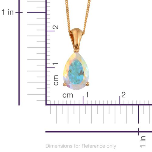 Mercury Mystic Topaz (Pear) Solitaire Pendant With Chain in 14K Gold Overlay Sterling Silver 3.250 Ct.