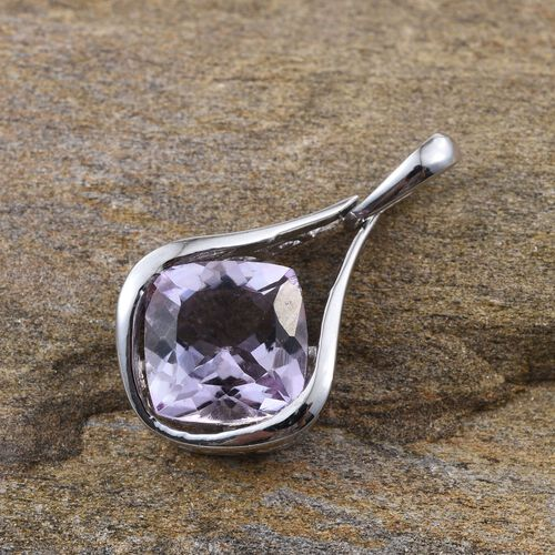 Rose De France Amethyst (Cush) Solitaire Pendant in Platinum Overlay Sterling Silver 4.000 Ct.