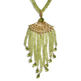 Limited Available- Designer Inspired AAA Hebei Peridot (Rnd) Hand Made Waterfall Necklace (Size 18) in Yellow Gold Overlay Sterling Silver 117.600 Ct.