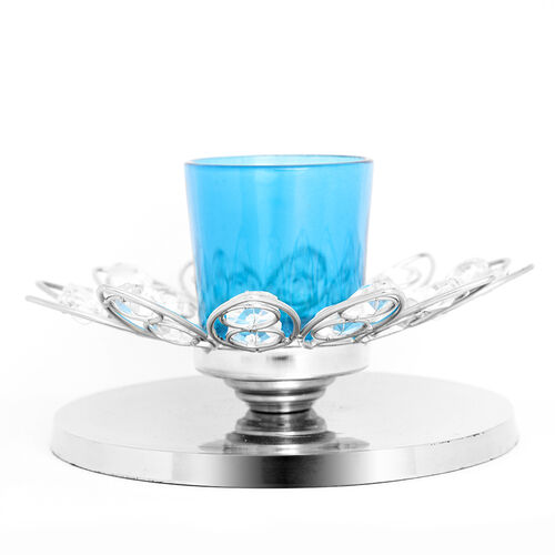 Home Decor - Flower Style Crystal Tea Light Holder with Blue Glass Votive