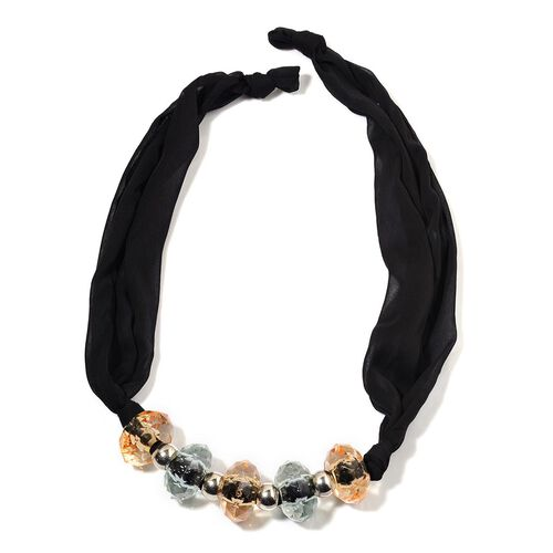 Multi Colour Beads Chiffon Necklace (Size 32)