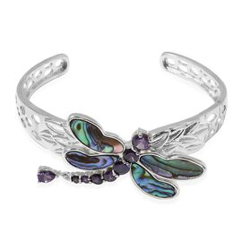 Abalone Shell, Simulated Amethyst Dragonfly Bangle (Size 7) in Silver Plated
