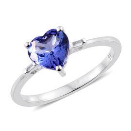 9K White Gold 1.30 Ct AA Tanzanite Heart Ring with Diamond