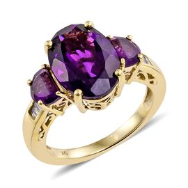 Exclusive Edition- 9K Y Gold Zambian Amethyst (Ovl 5.88 Ct), Diamond Ring 7.000 Ct.