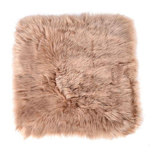 Set of 2 - Brown Colour Faux Fur Seat Pads (43cm x 43cm)