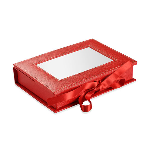 Handcrafted Eco Leatherette Red Colour 4 Compartments Jewellery Box with Photo Frame on Top (Photo Size 15x10 Cm)