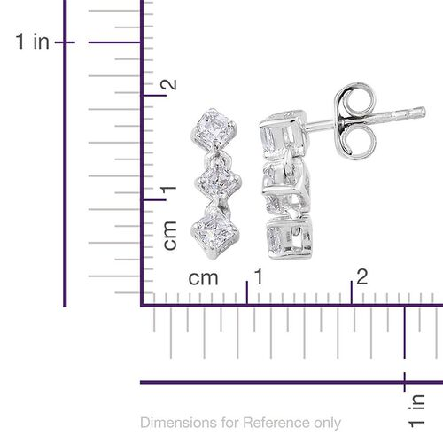 J Francis - Platinum Overlay Sterling Silver (Asscher Cut) Earrings (with Push Back) Made with SWAROVSKI ZIRCONIA