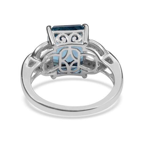 London Blue Topaz (Oct 4.75 Ct), White Topaz Ring in Platinum Overlay Sterling Silver 4.850 Ct.