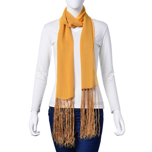 100% Mulberry Silk Yellow and Khaki Colour Scarf with Long Tassels (Size 160X50 Cm)