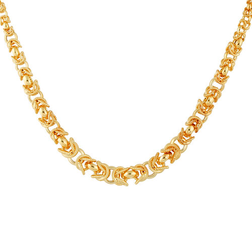 Vicenza Collection- Italian Hand Made Regina Link14K Gold Overlay Sterling Silver Necklace (Size 20), Silver wt. 49.80 Gms.