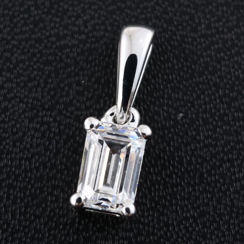 J Francis - 9K White Gold Octagon Solitaire Pendant Made with SWAROVSKI ZIRCONIA