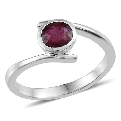 African Ruby (Rnd) Solitaire Ring in Platinum Overlay Sterling Silver 1.750 Ct.
