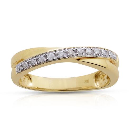 9K Yellow Gold SGL Certified Diamond (I3/G-H) Criss Cross Ring 0.15 Ct.