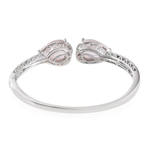 Rose Quartz (Pear), Diamond Bangle (Size 7.5) in ION Plated Platinum Bond 19.030 Ct.