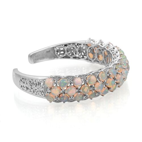 Ethiopian Welo Opal (Rnd), Diamond Cuff Bangle in Platinum Overlay Sterling Silver (Size 7.5) 12.900 Ct.