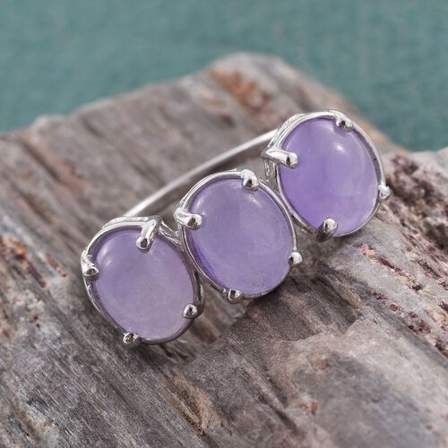 Purple Jade (Ovl) Trilogy Ring in Platinum Overlay Sterling Silver 6.750 Ct.