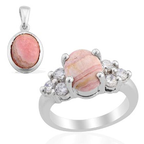 KARIS Collection - Argentinian Rhodochrosite (Ovl) Simulated Diamond Ring and Pendant in Platinum Bond 5.750 Ct.