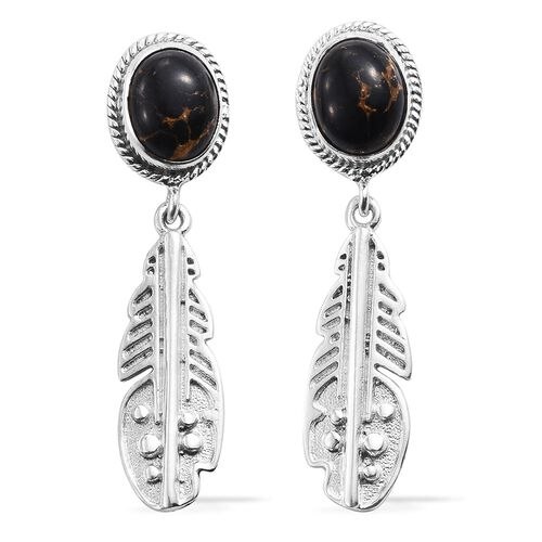 Mojave Black Turquoise (Ovl) Earrings (with Push Back) in Sterling Silver 4.740 Ct.