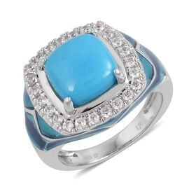 GP Arizona Sleeping Beauty Turquoise (Cush 4.25 Ct), Natural White Cambodian Zircon and Madagascar Blue Sapphire Ring in Blue Enameled Rhodium Plated Sterling Silver 5.160 Ct. Silver wt 8.22 Gms.