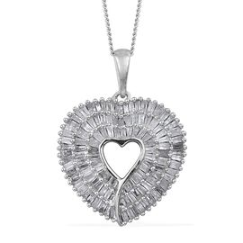 Super Auction- Designer Inspired Diamond (Bgt) Heart Pendant with Chain in Platinum Overlay Sterling Silver 1.000 Ct. Number of Diamonds 115