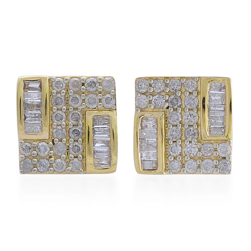 9K Yellow Gold SGL Certified Diamond (Bgt) (I3 G-H) Stud Earrings 1.000 Ct.