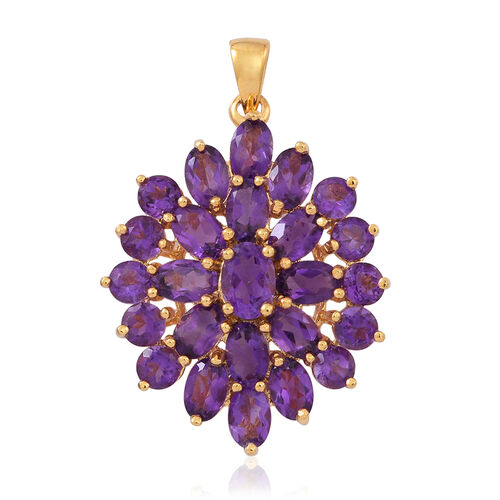 Lusaka Amethyst (Ovl) Floral Pendant in 14K Gold Overlay Sterling Silver 9.000 Ct.