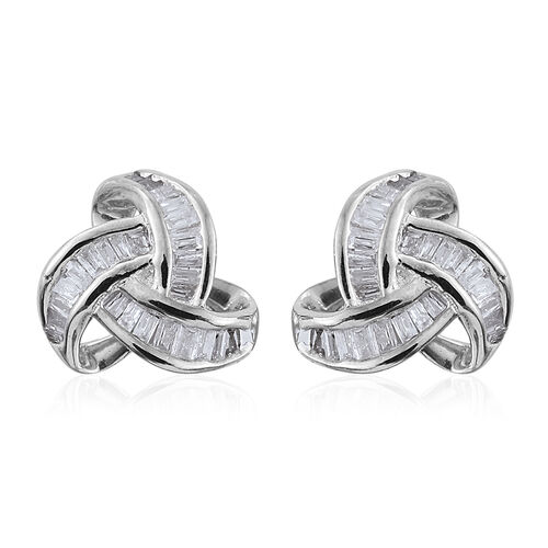 9K W Gold Diamond (Bgt) Triple Knot Stud Earrings (with Push Back) 0.250 Ct.