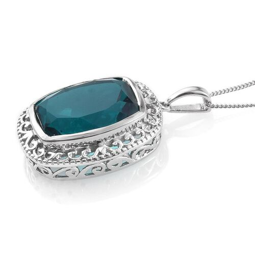 Capri Blue Quartz (Cush) Pendant With Chain in Platinum Overlay Sterling Silver 15.000 Ct.