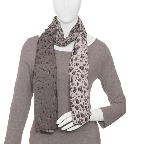 LucyQ Water Drops Digital Printed Black and White Colour Scarf (Size 180x70 Cm)