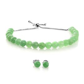 Super Auction- Rare Green Jade Ball Beads Adjustable Bracelet (Size 6.5 to 8.5) and Stud Earrings (with Push Back) in Rhodium Plated Sterling Silver 41.280 Ct.
