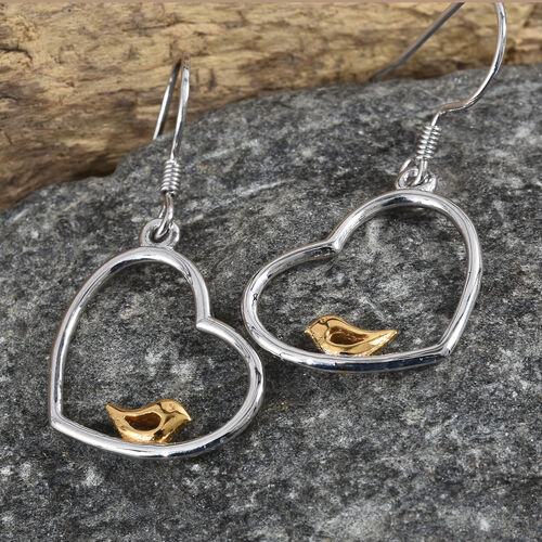 Platinum and Yellow Gold Overlay Sterling Silver Bird in Heart Lever Back Earrings, Silver wt. 2.92 Gms.