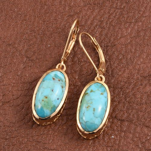 Arizona Matrix Turquoise (Ovl) Lever Back Earrings in 14K Gold Overlay Sterling Silver 7.500 Ct.