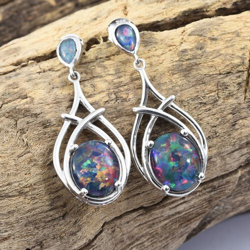 Australian Boulder Opal (Ovl) Earrings (with Push Back) in Platinum Overlay Sterling Silver 7.000 Ct. Silver wt 6.17 Gms.