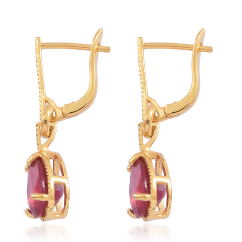 African Ruby (Pear) Earrings in 14K Gold Overlay Sterling Silver 4.250 Ct.