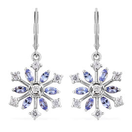Tanzanite and Zircon 2.25 Ct Silver Snowflake Lever Back Earrings in Platinum Overlay